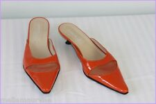 Escarpins Pointus Ouverts ANDRE Cuir Verni Orange T 36 TBE