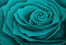 LARGE FLORAL CANVAS ART TURQUOISE BLUE ROSE PAINTING A1