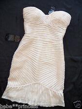 $200 NWT Bebe beige bodycon mesh ruffle strapless embellished top dress XS 0  2
