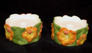 HAWAIIAN Floral Ceramic Taper or Pillar Candle Holders Set of 2 Hibiscus Design