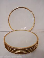 "Raynaud Limoges 6 Plates 9 3/8"" Plate Set Gold Band Trim Geometric Coupe White"