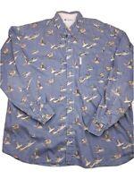 Columbia Men's Shirt XL Blue Button Down Long Sleeve Hunting Birds Ducks  (R16)