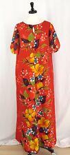 Sears Vintage Hawaiian Dress 14 Maxi Long Muumuu Floral Red