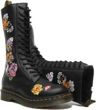 DR MARTENS FLORAL HIGH BOOTS SIZE 6 BLACK LEATHER 1914 VONDA II  SOFTY-T NEW £95