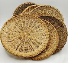 "Wicker Paper Plate Holders Bamboo Rattan Woven 10"" Set Of 6 Boho Wall Decor"
