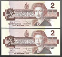 Canada Two Dollar $2 (1986) - 2 CONSECUTIVE ALMOST UNC NOTES - L1