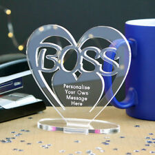 Personalised Heart with Message Ornament Keepsake Boss Work Award Gift