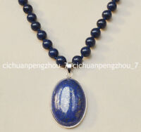 """Natural 8mm Blue Egyptian Lapis Lazuli Round Beads & Oval Pendant Necklace 18"""""""