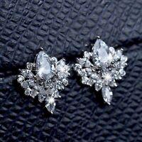 18k white gold GF made with Swarovski crystal stud earrings flower pear drop