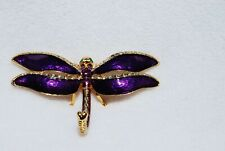 Swarovski Crystal Bejeweled Enamel Hinged Trinket Box - Purple Dragonfly