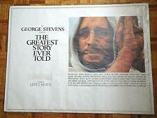 MAX VON SYDOW, CHARLTON HESTON GREATEST STORY EVER TOLD 1965 CINERAMA BRIT QUAD
