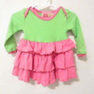 Little Sprout by Mudpie Green & Pink Ruffle Dress Long Sleeves Sz 0-6 Months EUC