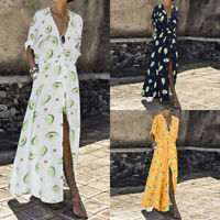 ZANZEA Women Long Sleeve Summer Beach Holiday Long Maxi Dress Shirt Dress Plus