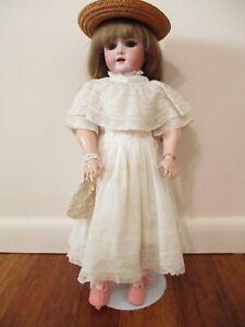 """Pretty Antique German 15"""" Handwerck Bisque Head Doll Original Dress"""