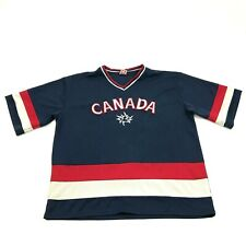 VINTAGE Teepee Canada Hockey Jersey Size L Large Adult V-Neck Sewn On Throwback