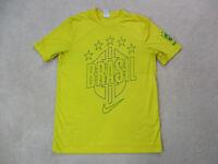Nike Brazil Shirt Adult Large Yellow Green Brasil Soccer Futbol Dri Fit Mens *
