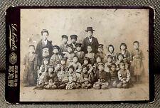 Vintage Japan Japanese Cabinet Card Photograph School Children Girl Boy Kimono