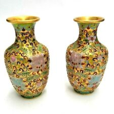 """MATCHING PAIR OF CHINESE CLOISONNE GILDED ENAMEL GINGER JARS GOLD TONED URN 5"""""""