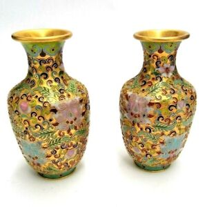 MATCHING PAIR OF CHINESE CLOISONNE GILDED ENAMEL GINGER JARS GOLD TONED URN 5""