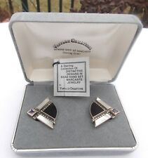 STERLING SILVER MOTHER OF PEARL MARCASITE ONYX EARRINGS BY VINTAGE CREATIONS