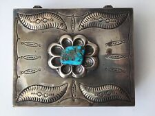 Navajo Native American Large Sterling Silver Turquoise Desk Trinket Box 258 Gr.