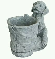 Concrete plaster mold puppy boot planter. Latex and fiberglass backer