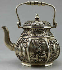 COLLECTIBLE DECORATED OLD SILVER COPPER CARVED FLOWER BIRD FISH FRUIT TEA POT S