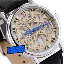Silver Heirloom Mechanical Wind-up Skeleton Steampunk Black Leather Unisex Watch