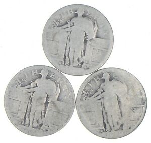 Lot of 3 - 1916 or 1917 Type 1 Reverse! Standing Liberty Quarter - Mystery *125
