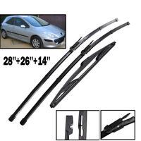 Front Rear Windscreen Wiper Blades For Peugeot 307 1.6L 2.0L Diesel 2005 - 2008