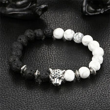 Handmade Mens Women Animal Beaded Natural Lava Stone 8mm Beads Agate Bracelet Jr