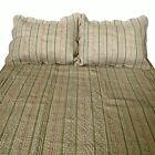 3 Pce 100% Cotton REGENCY Linen Olive KING Coverlet / Bedspread + 2 Pillowcases