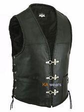 Biker Leather Waistcoat Vest Black Side Laces Fish Hook Button Side Plated Edge