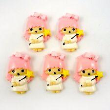 10pcs Pink Princess Girl Cabochon Flatback Hair Bow Center Craft Embellish