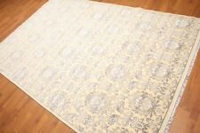 6' x 9' Hand Knotted Damask Area Rug Wool & Bamboo Silk  AOR8621 6x9 Beige