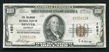 1929 $100 THE COLORADO NATIONAL BANK OF DENVER, CO NATIONAL CURRENCY CH. #1651