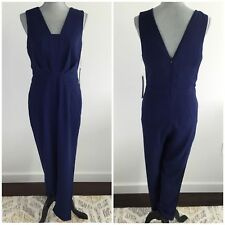 ADELYN RAE Size XS X-Small Dark Blue Long Romper Pants Jumpsuit Pleated Front