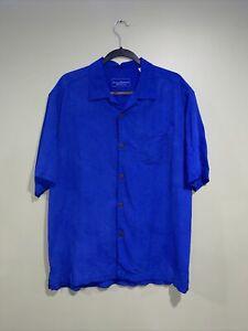 Tommy Bahama Mens Hawaiian Shirt Camp Original Fit Silk Button Front LG