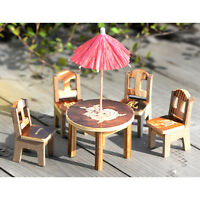 Miniature Wooden Desk+Chair+Umbrella  Fairy Garden Ornament Dollhouse Decor GT
