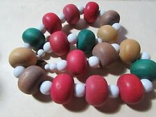 """VINTAGE 20"""" chunky multi colored wooden beaded necklace"""