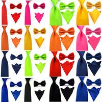 Men Satin Skinny Wide Tie Necktie Bowtie Pocket Square Set Solid Color Ties Lot