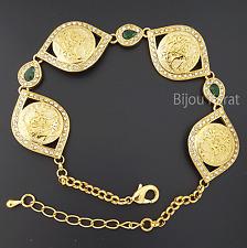 Tugra Bileklik Gold Armband 22 Ayar Altin Kaplama Osmanli Bilezik Taki Gelin