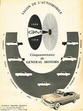PUBLICITE ADVERTISING 085  1958  le Salon automobile GENERAL MOTORS CINQUANTENAI