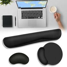 2pc Ergonomic Memory Foam + Lycar Fabric For Keyboard & Wrist Rest Mouse Pad Mat