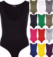 New Womens Ladies Sleeveless Racer Back Stretch Bodysuit Leotard Vest Top 8-14