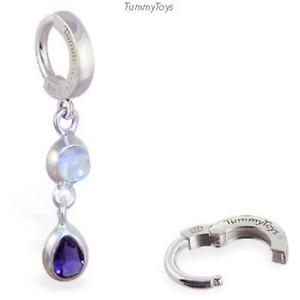 TummyToys Silver Navel Ring with Moonstone & Iolite Drop Charm [TT-69021]