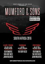 "MUMFORD & SONS / BAABA MAAL ""SOUTH AFRICA 2016"" CONCERT TOUR POSTER - Folk Rock"