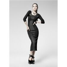 Punk Rave Gothic Long Sleeve Pencil Dress With Faux Suede and Fish Net Accent