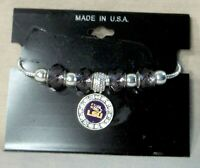 LSU Charm Bracelet With Silver Beads and Charm