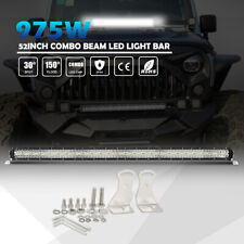 "Rectangle 52"" LED Light Bar Tri Row 975W Driving Fog Lamp Offraod Pickup UTV ATV"